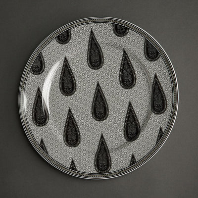 Black & White Awadh Porcelain Round Charger Plate by Ritu Kumar Home