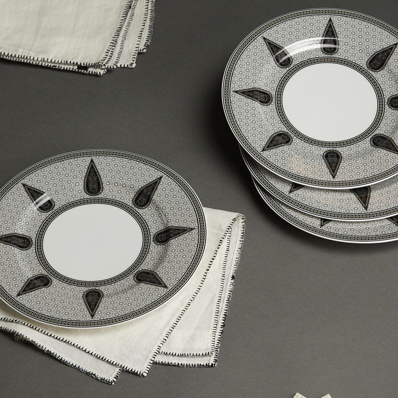 Black & White Awadh Porcelain Round Dinner Plate (Set of 4) by Ritu Kumar Home - Home Artisan