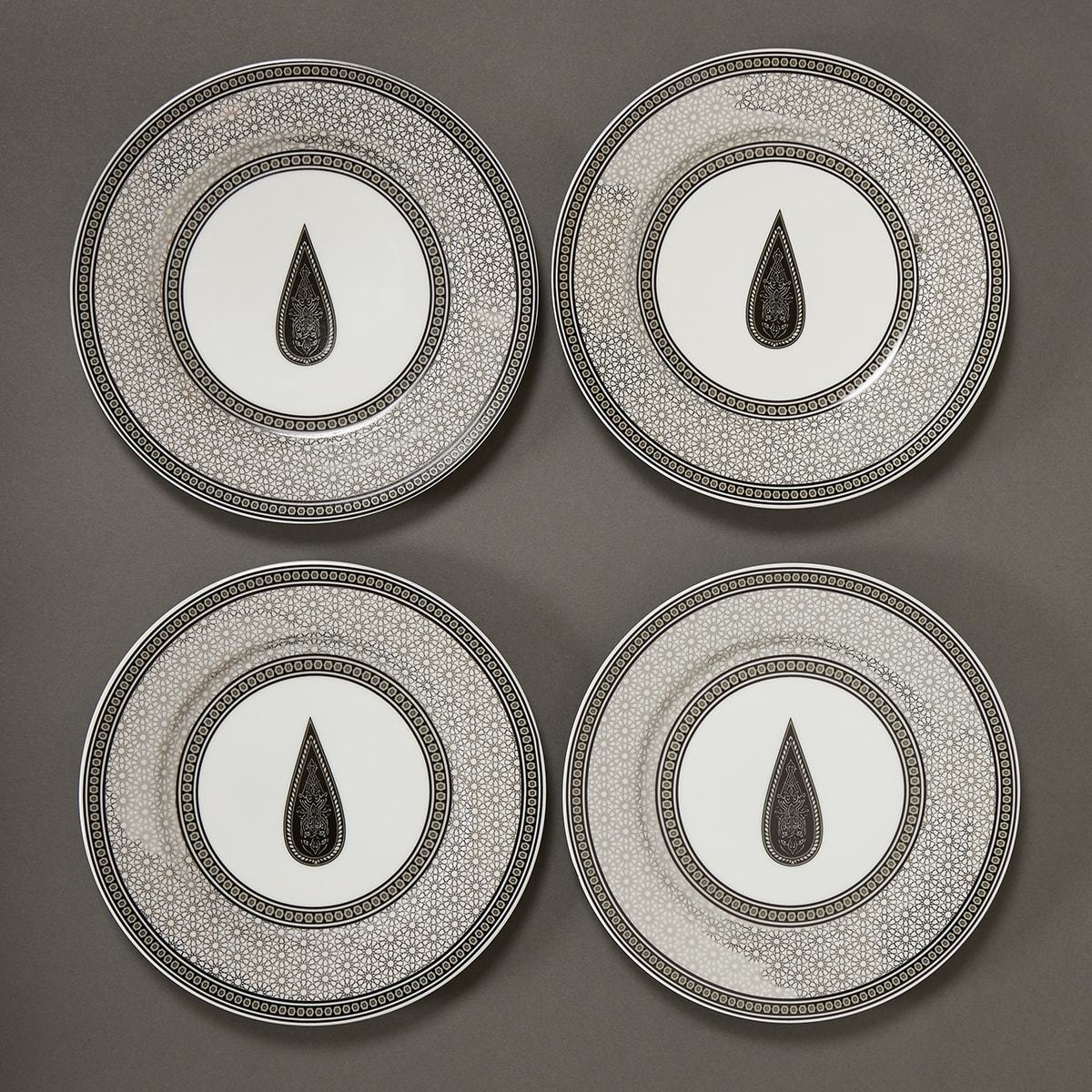 Black & White Awadh Porcelain Round Side Plate (Set of 4) by Ritu Kumar Home