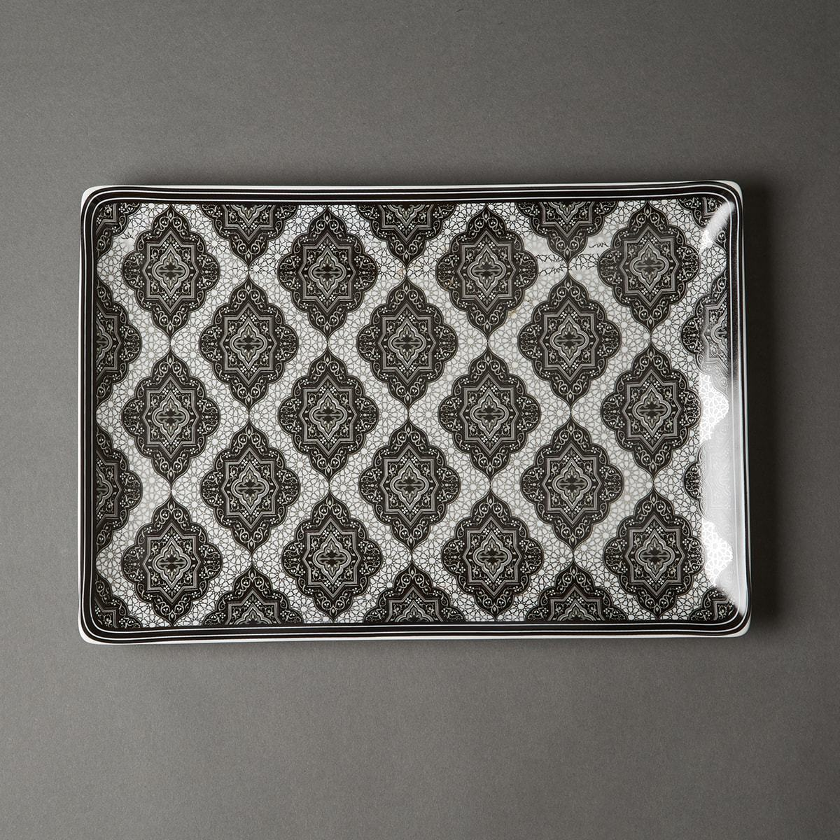 Black & White Awadh Porcelain Rectangle Platter (Large) by Ritu Kumar Home - Home Artisan