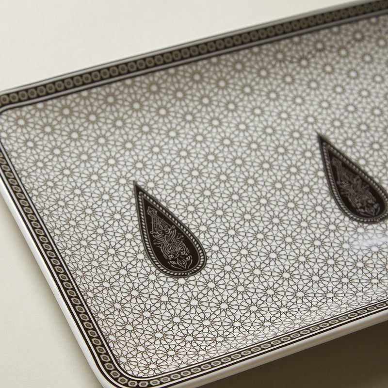 Black & White Awadh Porcelain Medium Rectangle Platter by Ritu Kumar Home - Home Artisan