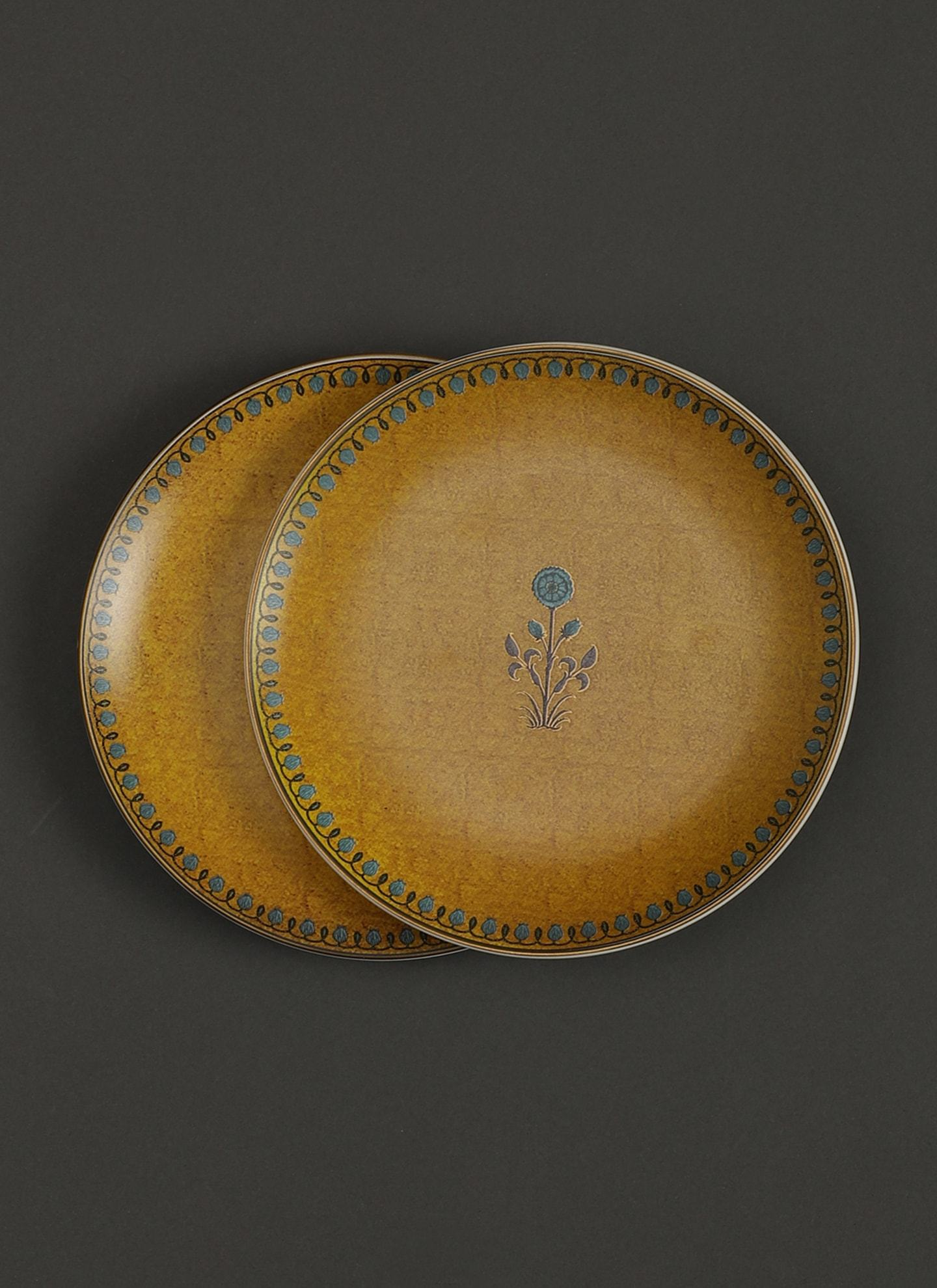 Yellow Jalmahal Side Plates (Set of 2) by Ritu Kumar Home - Home Artisan