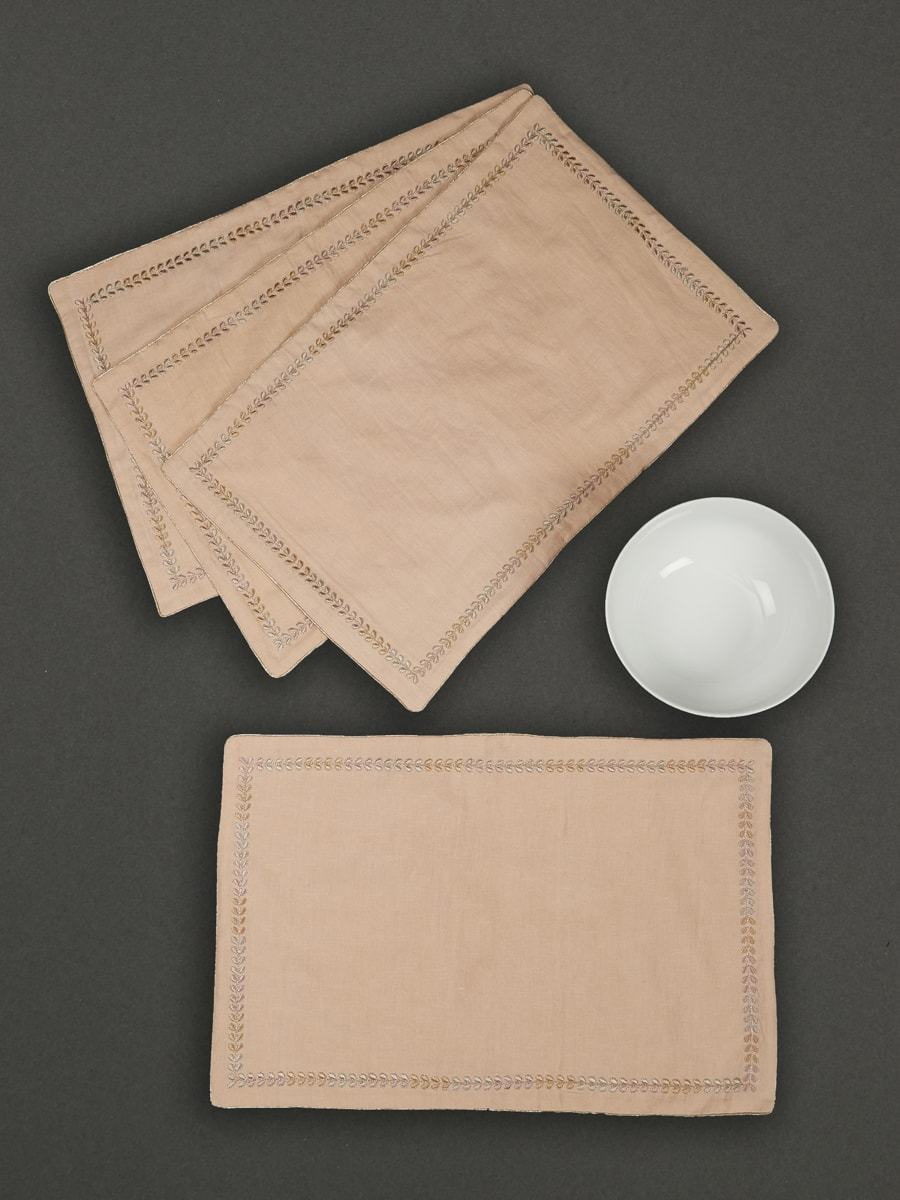 Nude Chidambaram Placemat (Set Of 4) by Ritu Kumar Home - Home Artisan