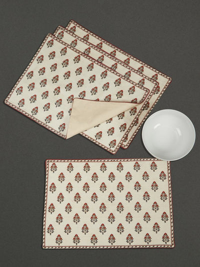 Ivory Chameli Placemat (Set Of 4) by Ritu Kumar Home - Home Artisan