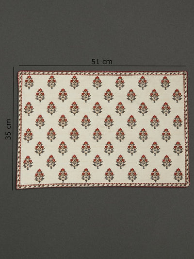 Ivory Chameli Placemat (Set Of 4) by Ritu Kumar Home