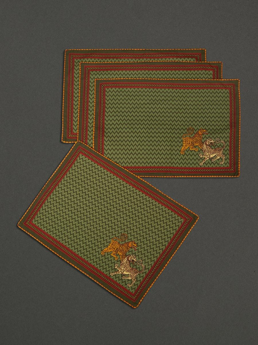Green Baagh Placemat (Set Of 4) by Ritu Kumar Home - Home Artisan