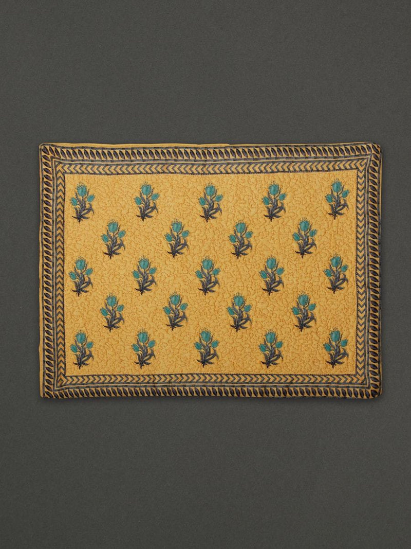 Yellow Jal Mahal Placemat (Set Of 4) by Ritu Kumar Home - Home Artisan
