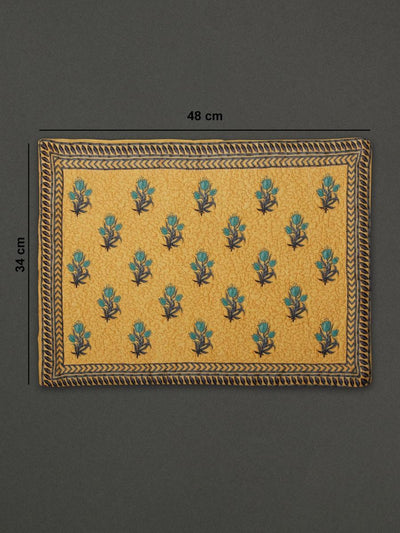 Yellow Jal Mahal Placemat (Set Of 4) by Ritu Kumar Home