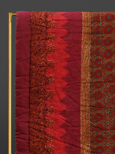 Red Ikkat Double Quilt by Ritu Kumar Home
