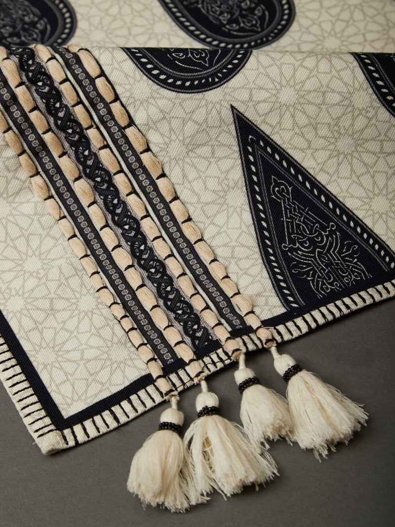 Black And White Awadh Runner by Ritu Kumar Home - Home Artisan