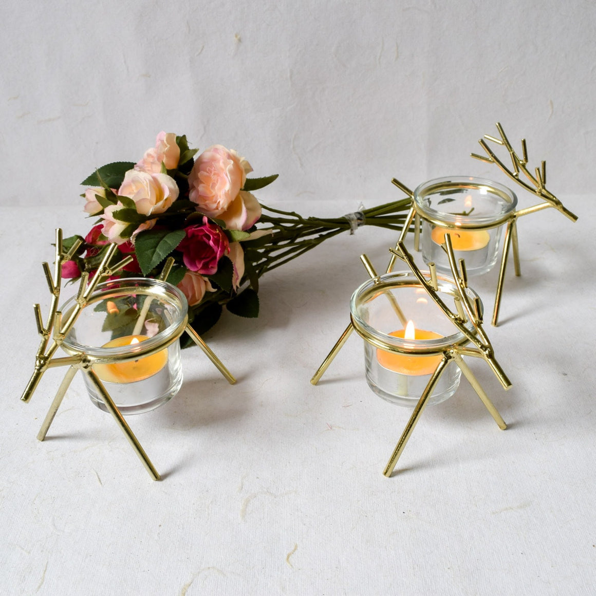 Rudolph Gold Tea-Light Holder (Set of 3)