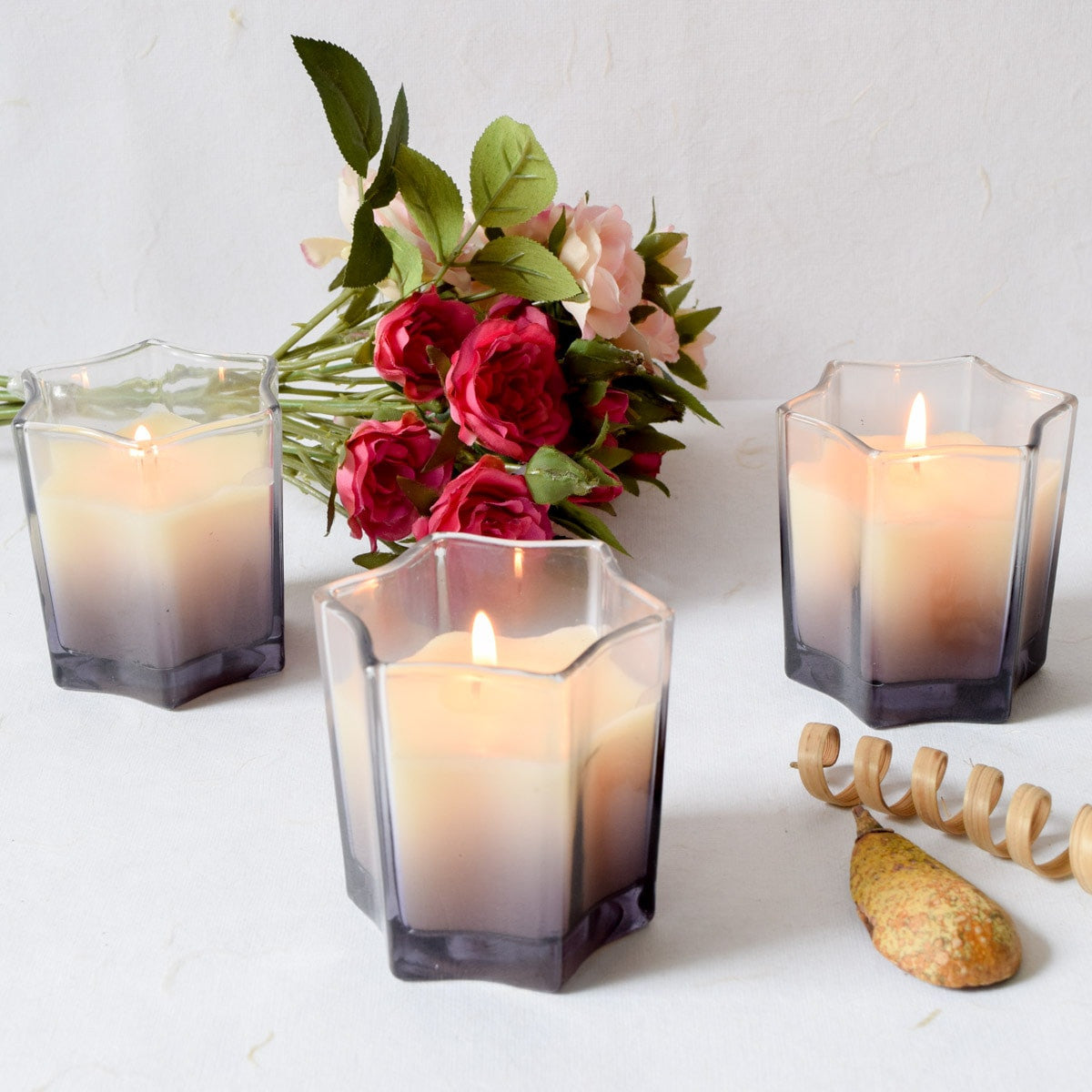 Starburst Smoky Glass Candles (Set of 3)