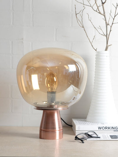Pippin Glass Table Lamp - Amber - Home Artisan