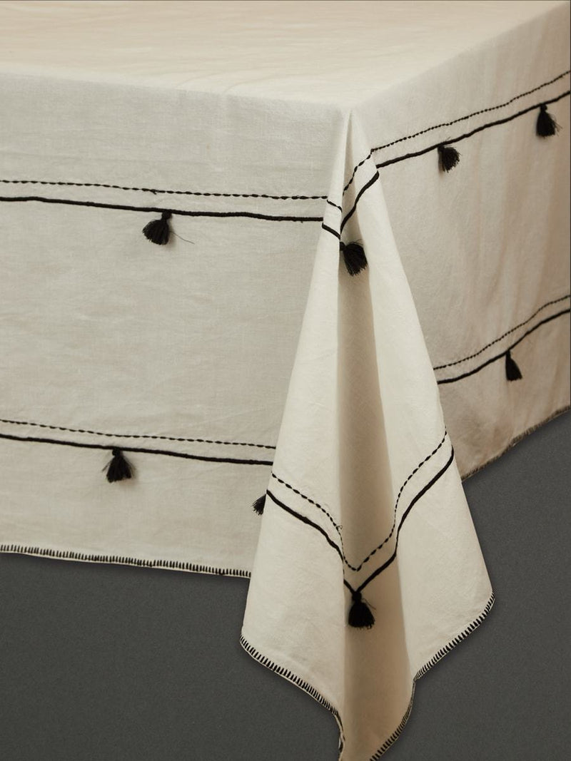 Black And White Awadh Table Cloth by Ritu Kumar Home - Home Artisan