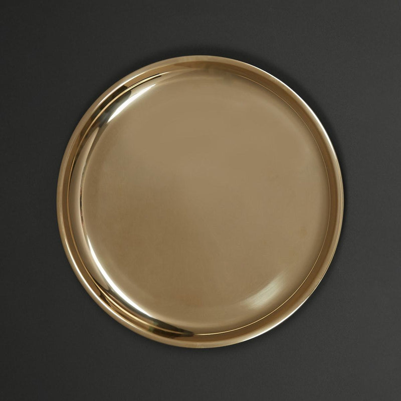 Shiny Gold Brass Thali by Ritu Kumar Home - Home Artisan