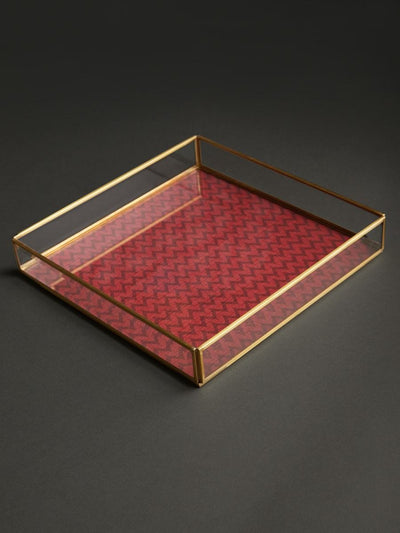 Green Baagh Tray - Set of 2 by Ritu Kumar Home
