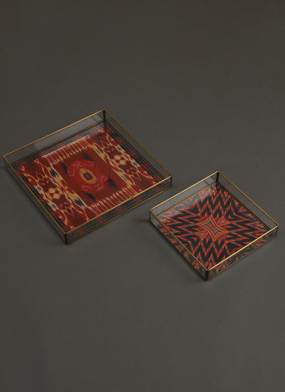 Ikkat Red Tray Set of 2 by Ritu Kumar Home - Home Artisan