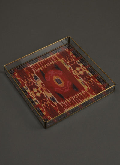 Ikkat Red Tray Set of 2 by Ritu Kumar Home