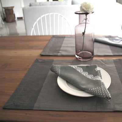 Tessa Grey Placemats with Napkins - Set of 2 - Home Artisan_1