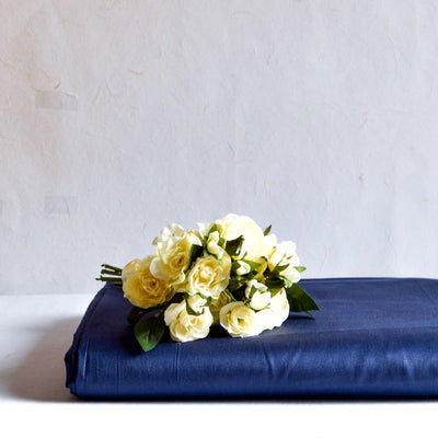 Theo Navy Blue Bed Sheet - Home Artisan_1