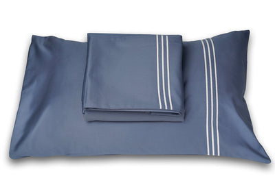 3 Stripes Moonlight Blue Cotton Sateen Bed Sheet by Veda Homes - Home Artisan