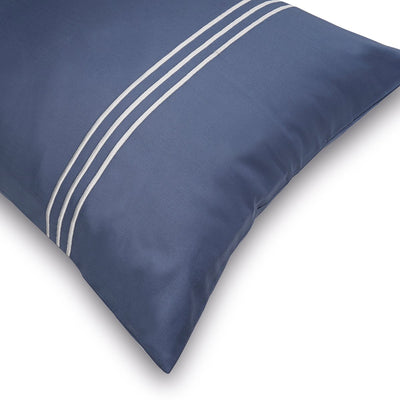 3 Stripes Moonlight Blue Cotton Sateen Bed Sheet by Veda Homes