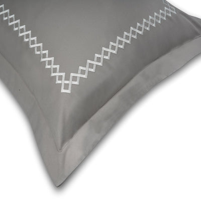 Cubes Modern Grey Cotton Sateen Bed Sheet by Veda Homes
