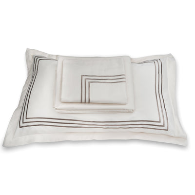 Parallel Cream Cotton Sateen Bed Sheet by Veda Homes - Home Artisan
