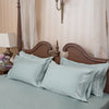Parallel Frosty Green Cotton Sateen Bed Sheet by Veda Homes