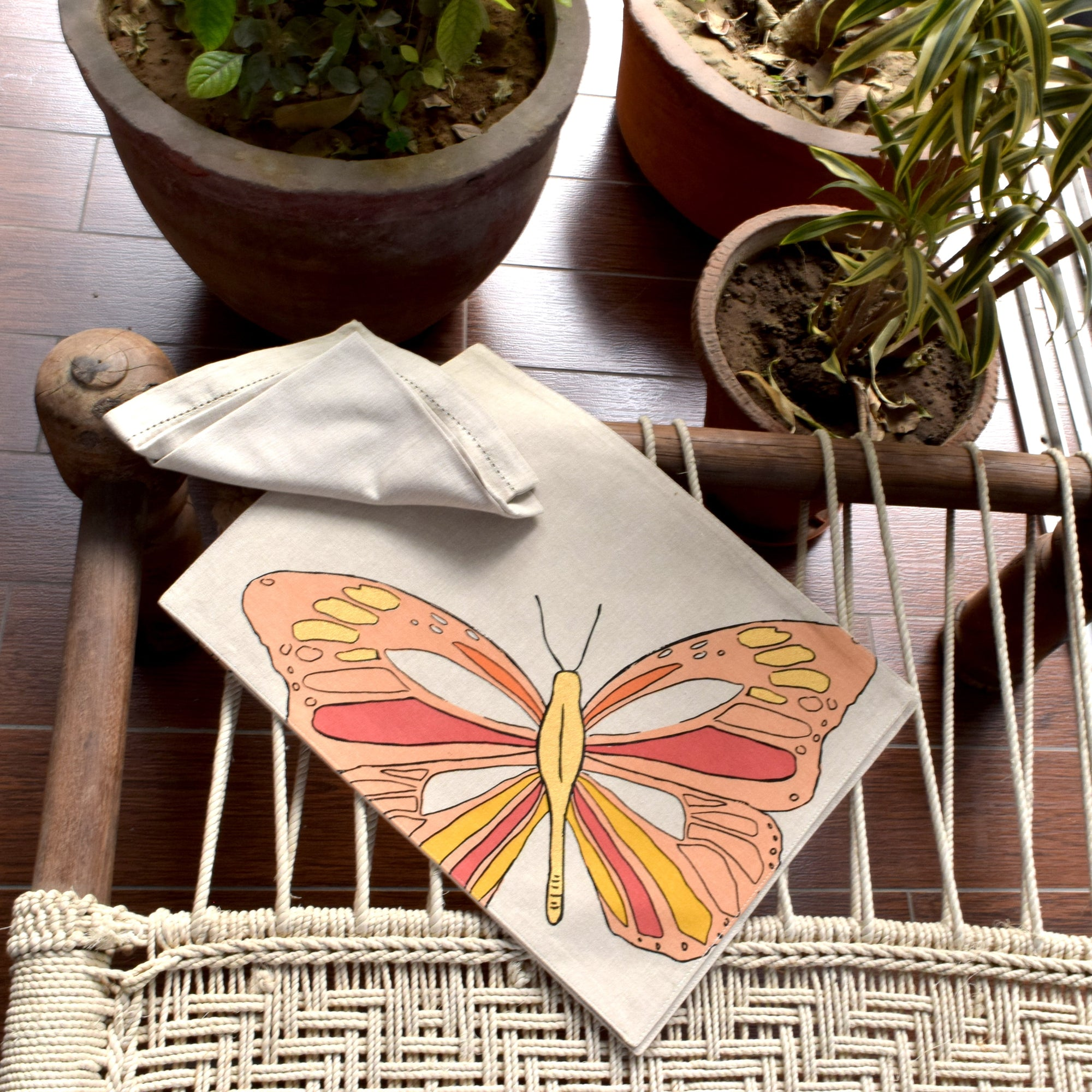 Viona Butterfly Print Placemats with Napkins - Set of 2