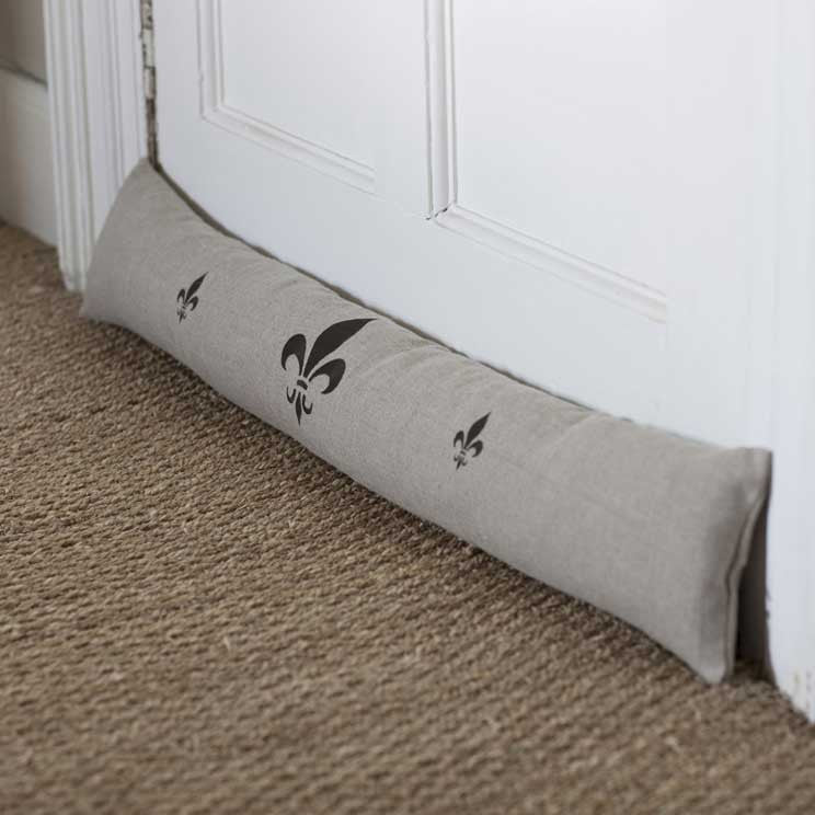 Embroidered Grey Linen Fleur du Lys Draught Excluder