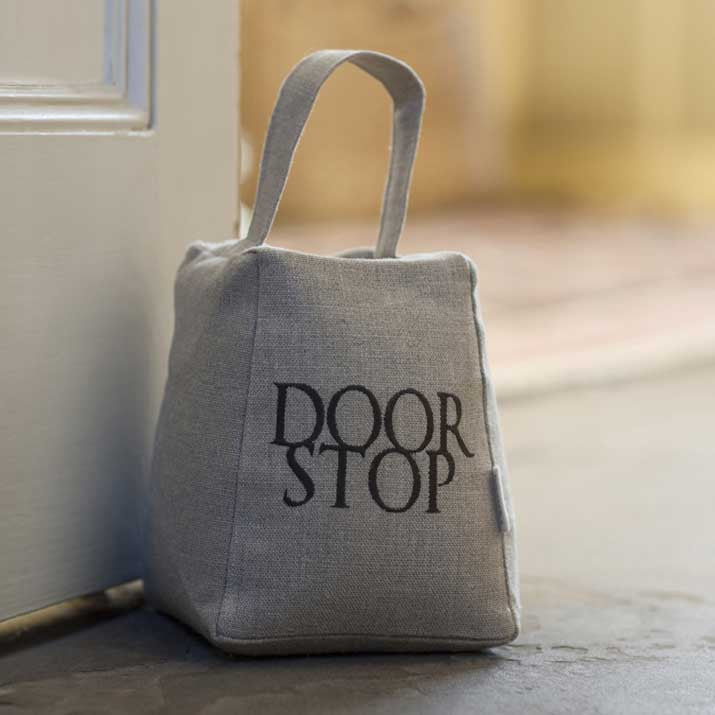 Embroidered Linen Door Stop