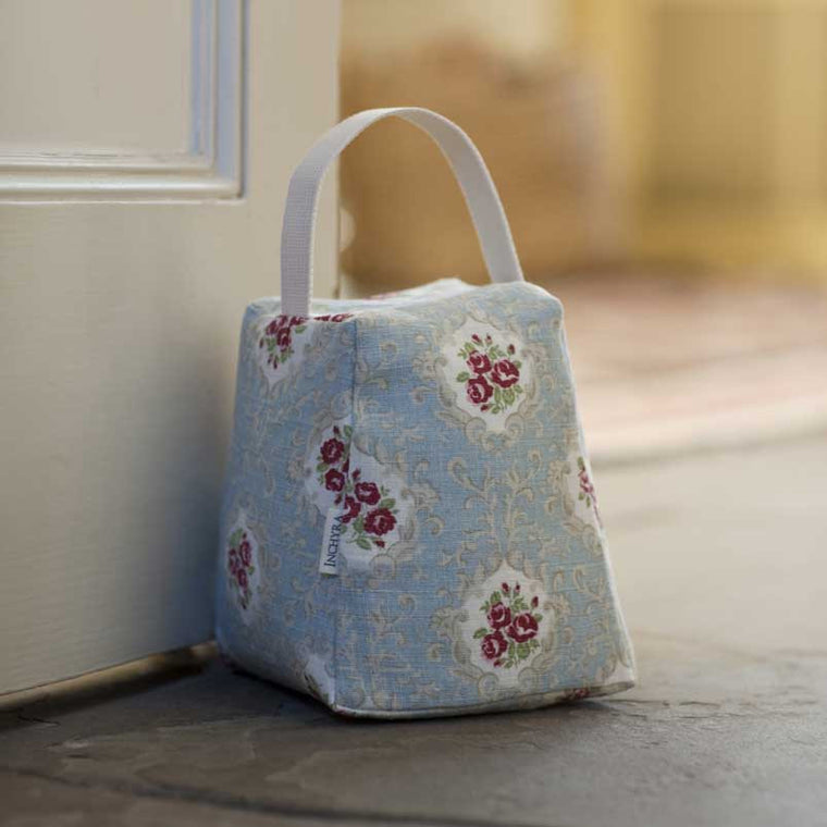 Light Blue Floral Linen Door Stop