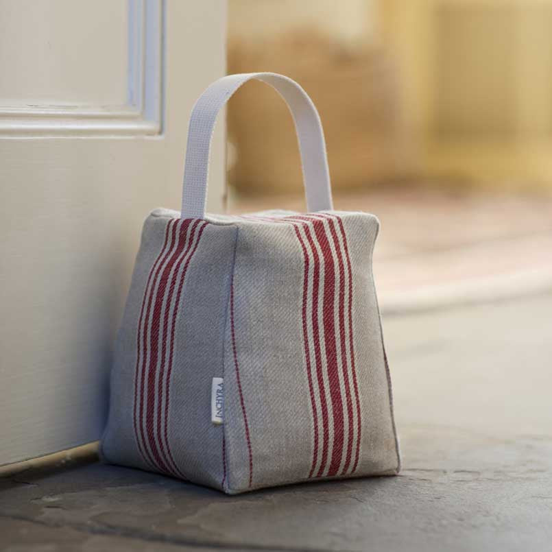 Red Striped Linen Door Stop
