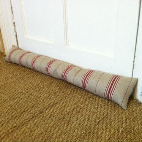 Red Stripe Linen Draught Excluder