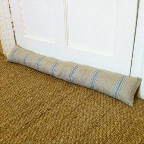 Blue Stripe Linen Draught Excluder