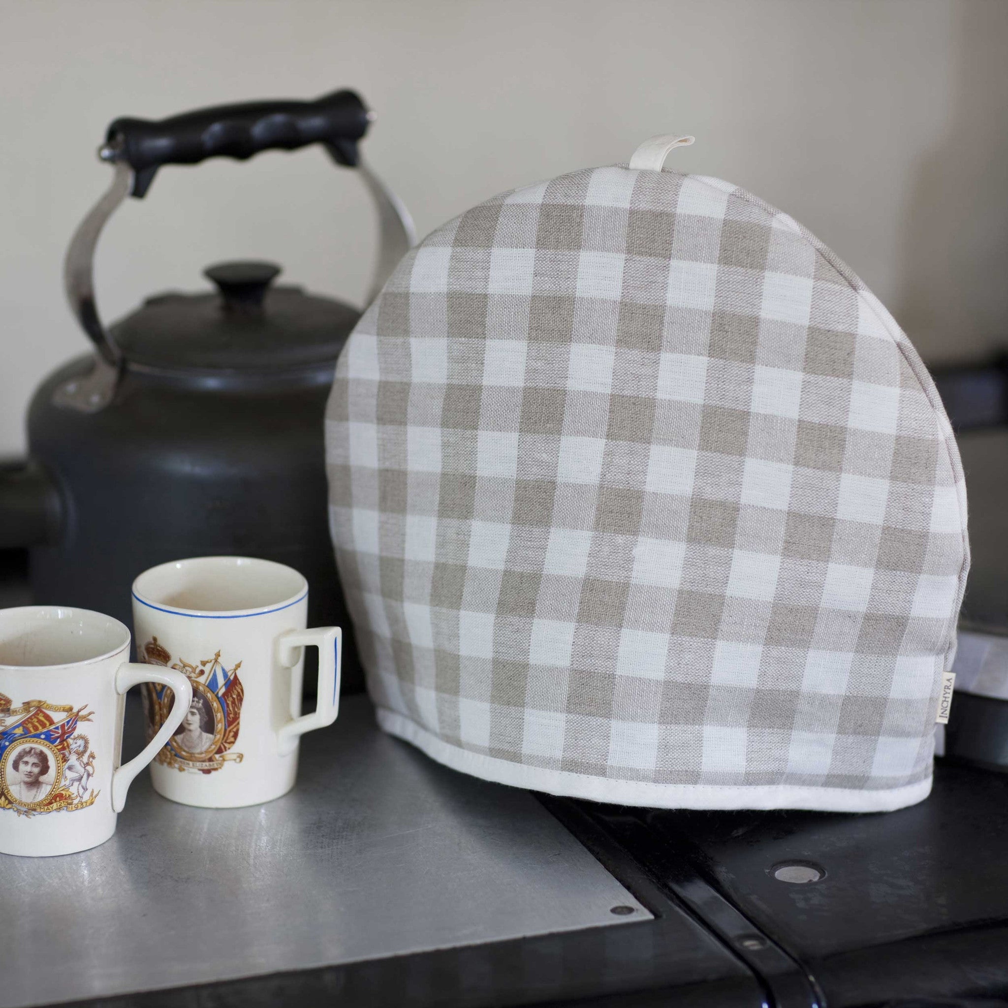 Natural check tea cosy for sale