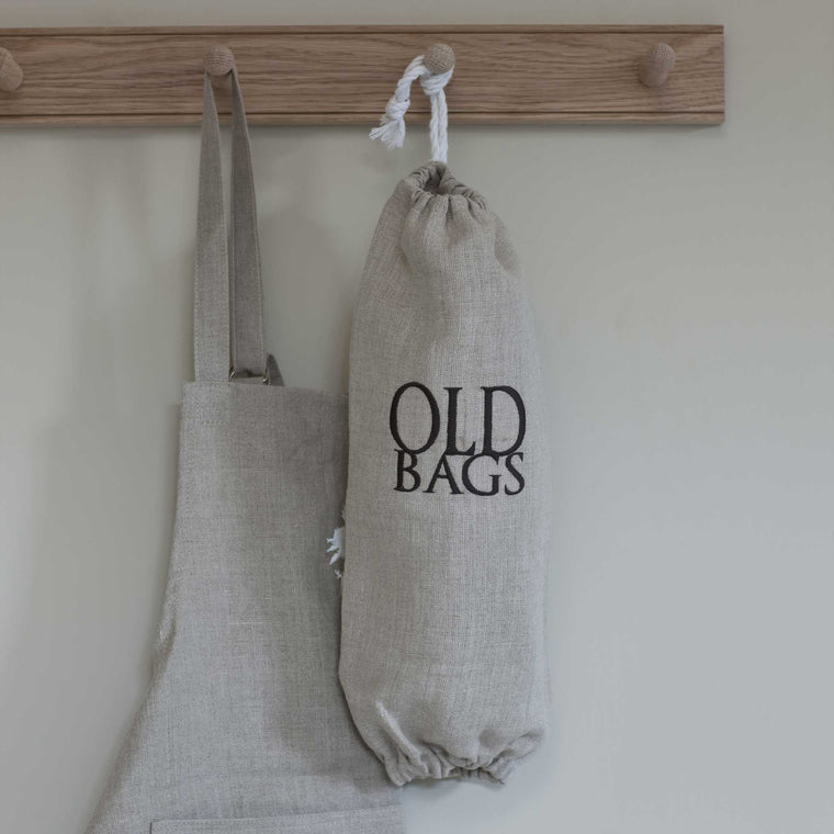 Natural Linen 'Old Bags' Carrier Bag Holder with Dark Grey Embroidery
