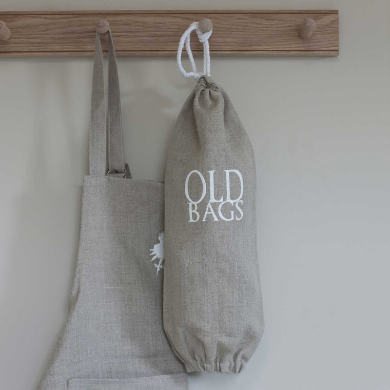 Natural Linen 'Old Bags' Carrier Bag Holder with Ivory Embroidery