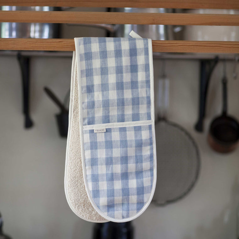 Blue Check Linen Oven Gloves