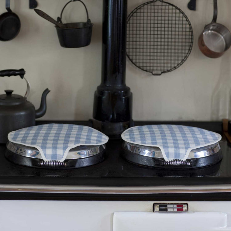 Pair of Magnetic Aga Lid Covers in French Blue Check