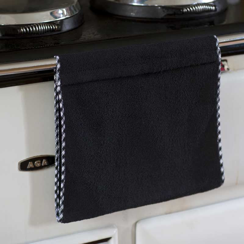 Black Gingham Edge Aga Towel