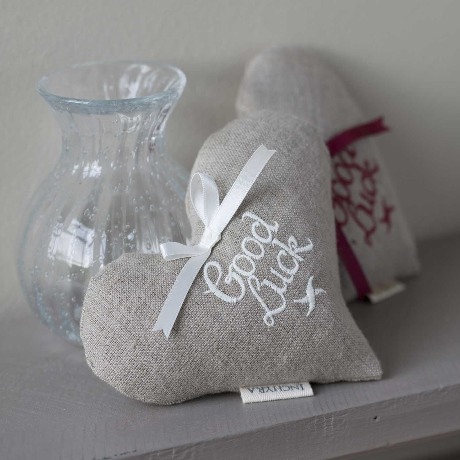 Embroidered Linen 'Good Luck' Lavender Heart