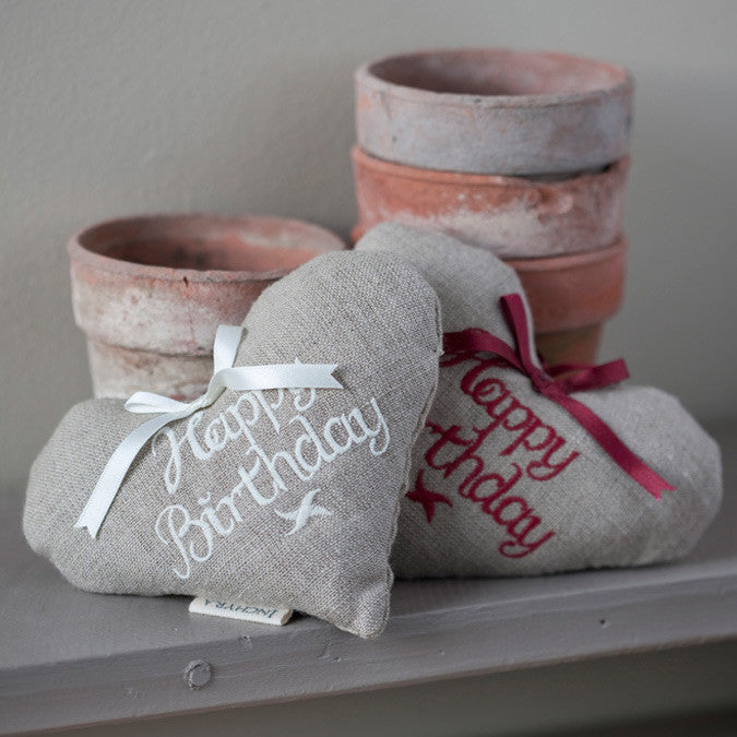 Embroidered Linen 'Happy Birthday' Lavender Heart