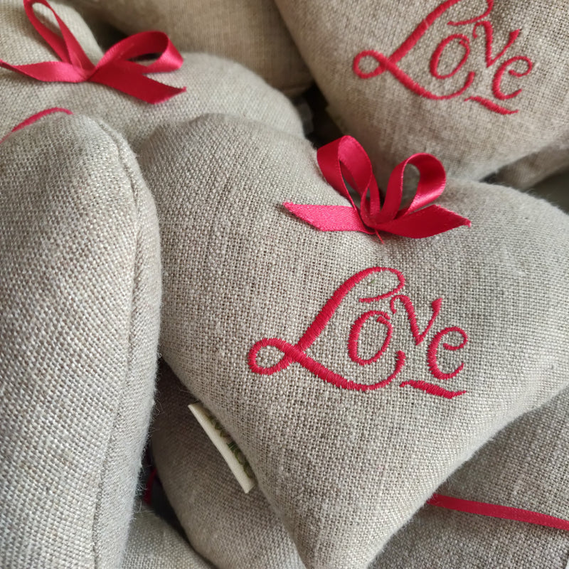 Embroidered Linen 'Love' Lavender Heart