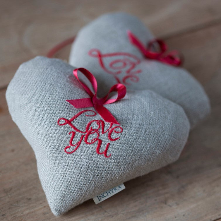 Embroidered Linen 'Love You' Lavender Heart