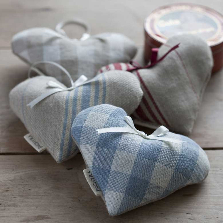 Ticking and Gingham Linen Lavender Hearts