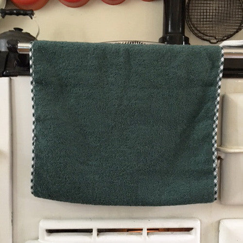 Dark green gingham edge aga towel