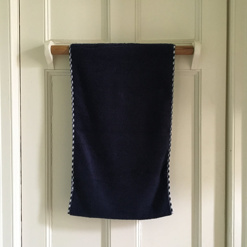 Gingham Edge Roller Towel/Navy