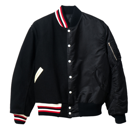 BD SPLIT VARSITY BOMBER JACKET - BLACK